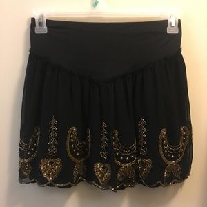 Free People Black and Gold Beaded Skirt